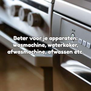 beter voor wasmachine koffieapparaat waterkoker afwassen